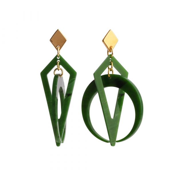 Toolally Classic Crescent Hoops Jade