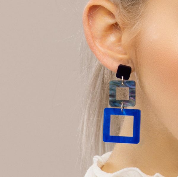 Toolally earrings cubes blue marble abalone lifestyle