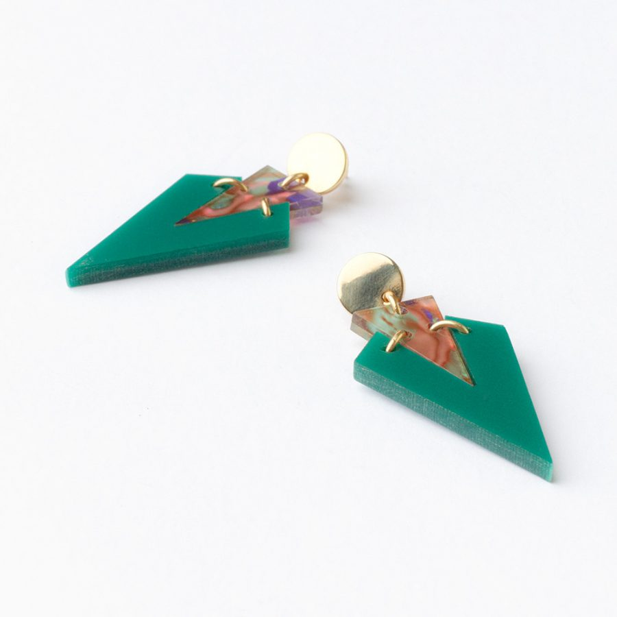 Toolally Art Deco Droplets Royal Green Flatlay