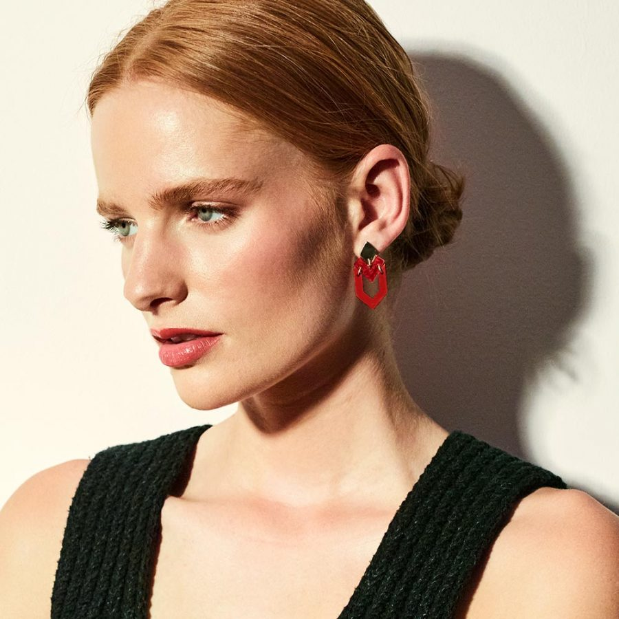 Toolally Earrings Houndstooth Royal Red Lifestyle