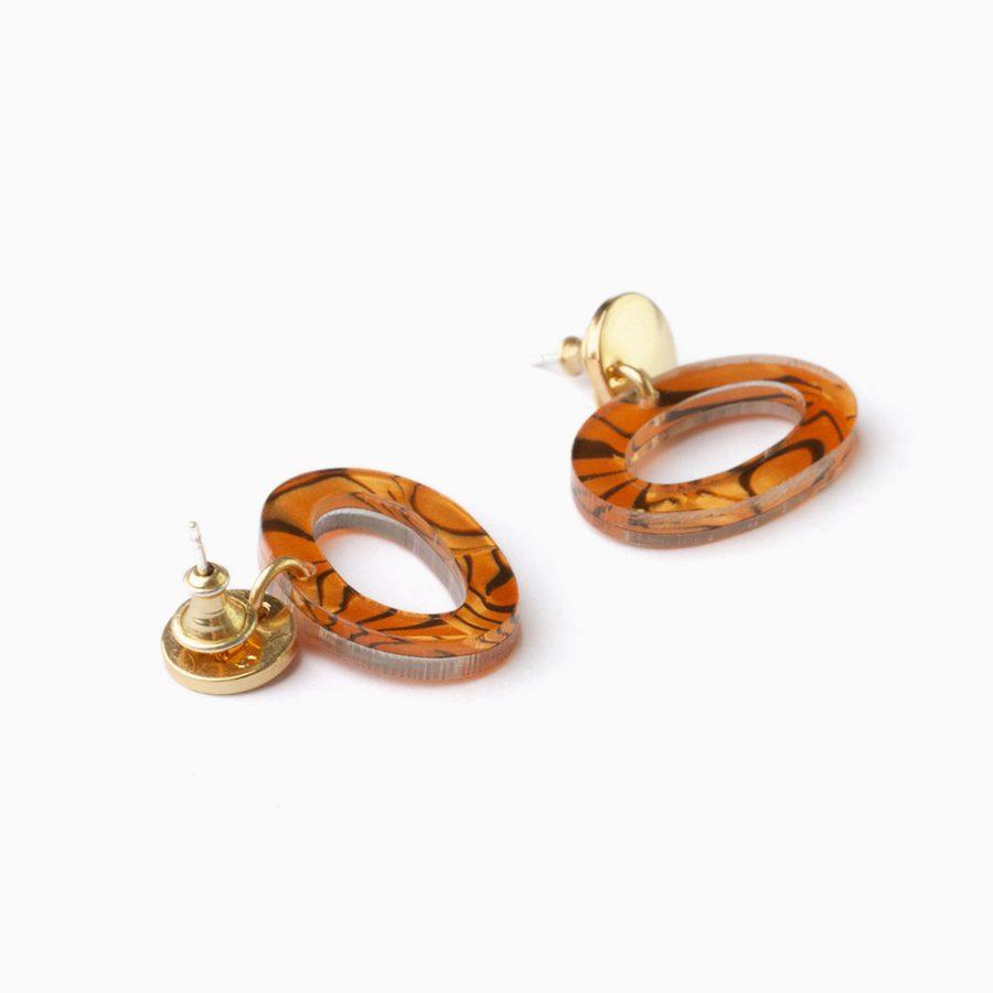 Toolally Earrings Ovals Tigershell Flatlay