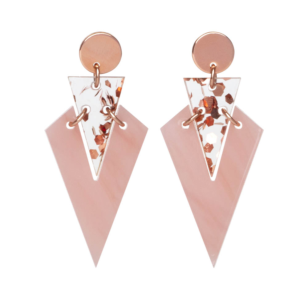 Toolally Art Deco Droplets in Antique Rose & Rose Gold Fleck