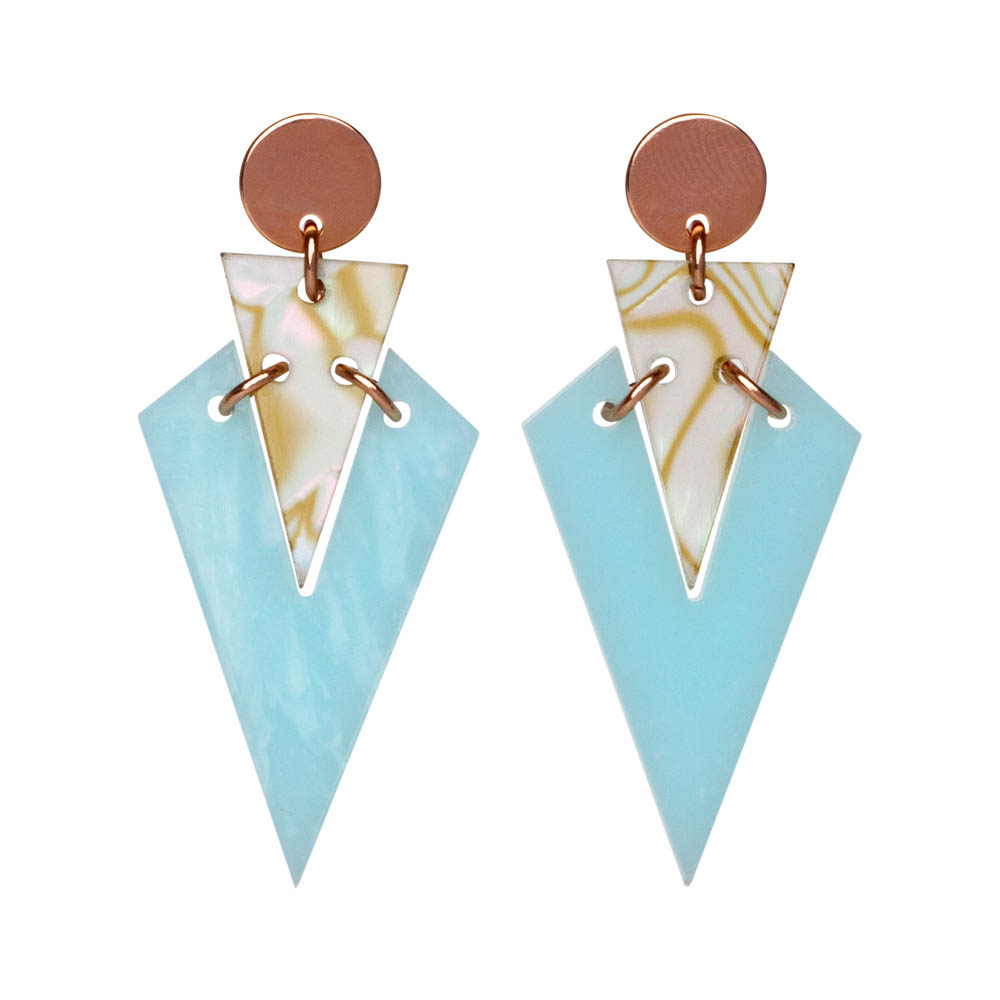 Toolally Art Deco Droplets in Powder Blue & Shell