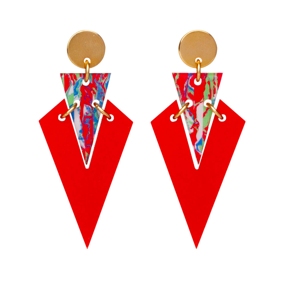 Toolally Art Deco Droplets in Royal Red & Red Splatter