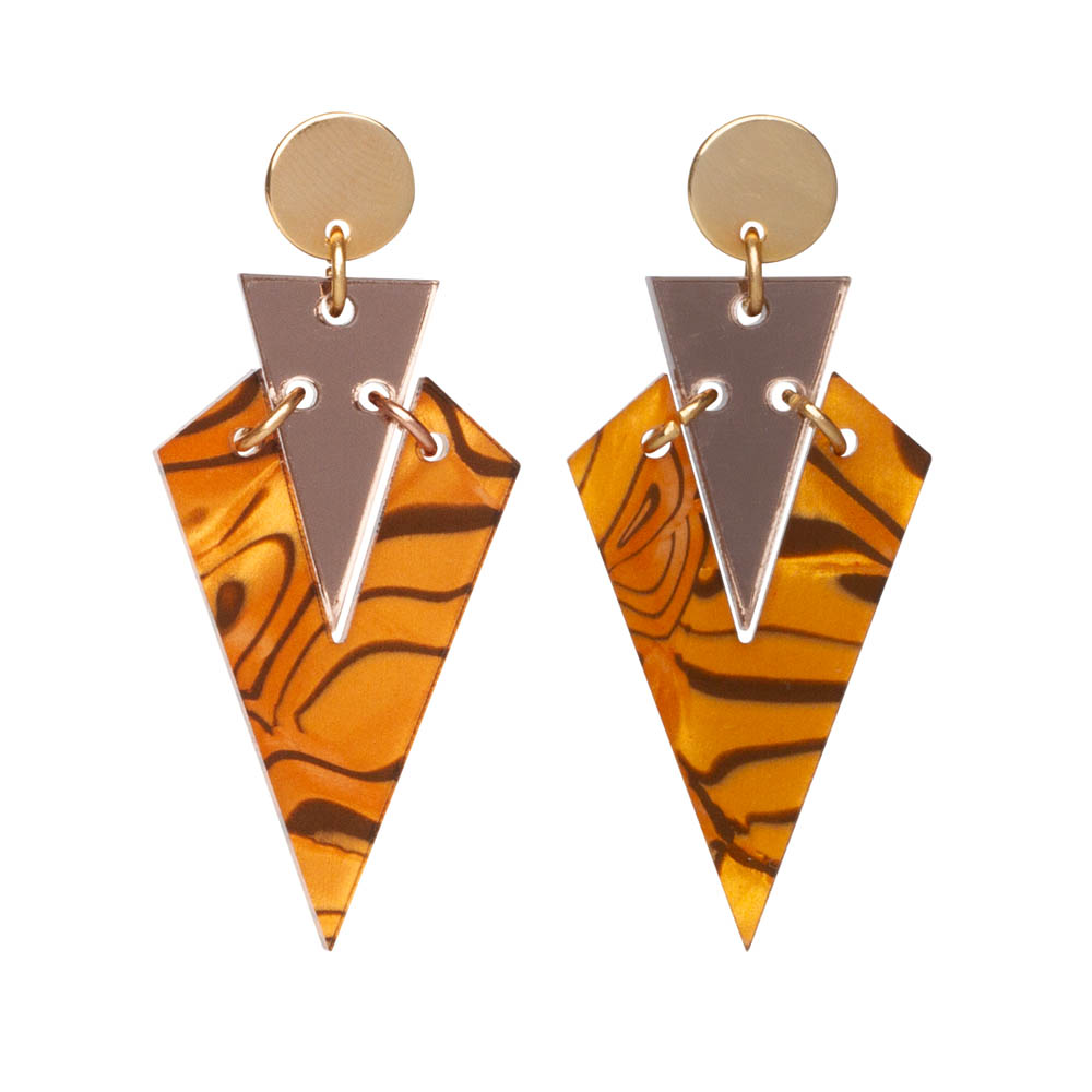 Toolally Art Deco Droplets in Tiger Shell & Bronze Mirror