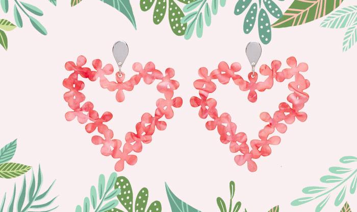 Toolally Earrings - Hearts in Flowers