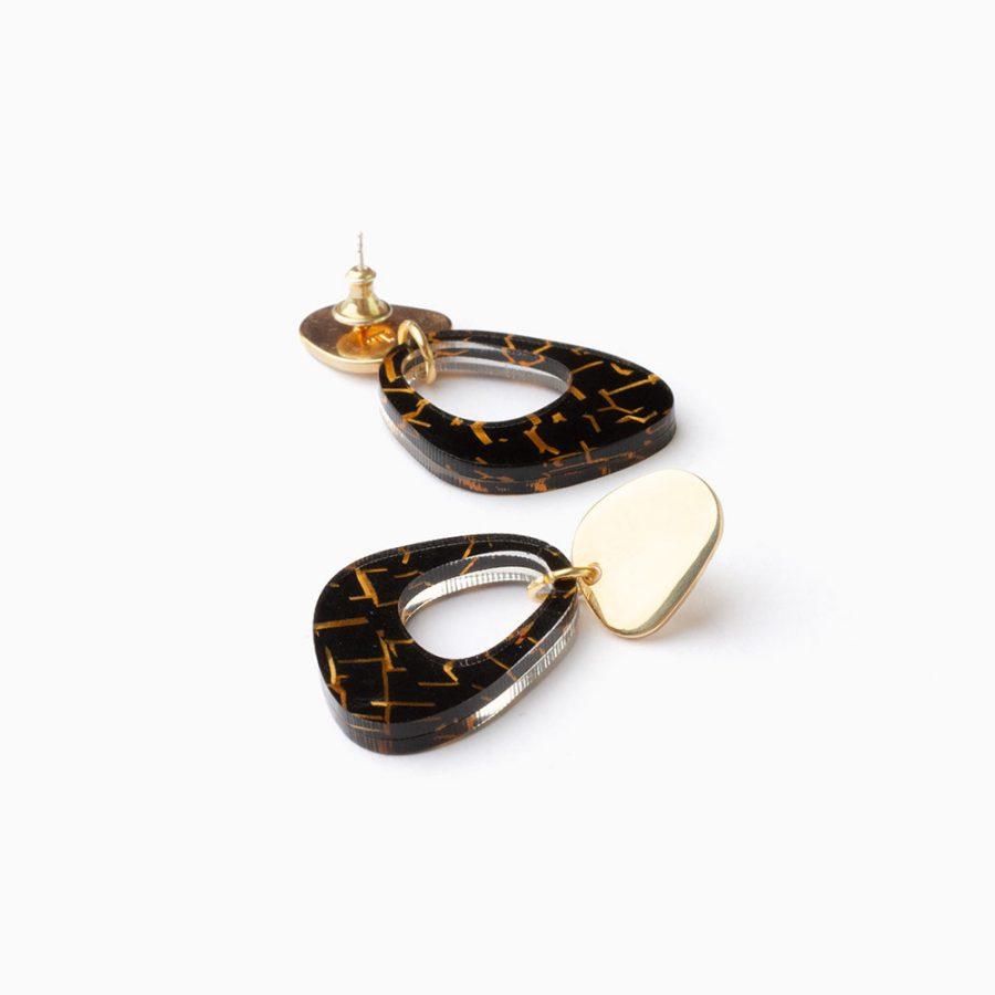 Toolally Earrings Pebble Drops Black Crackle Flatlay