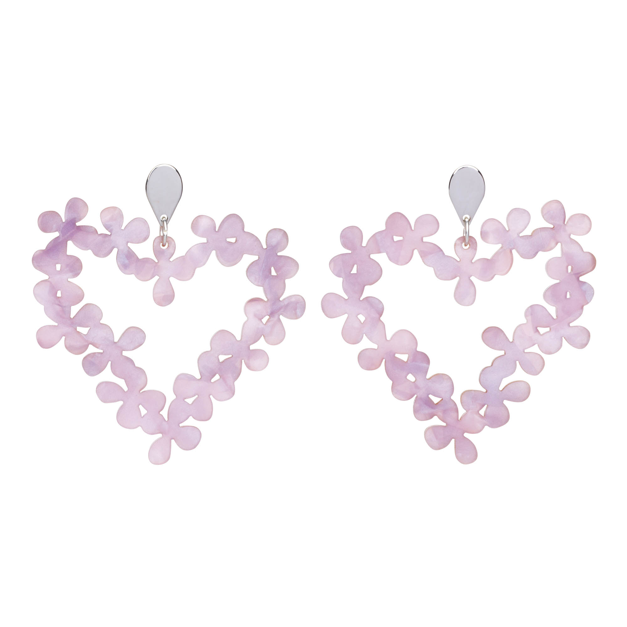 Toolally Earrings - Hearts in Flowers - Lilac Pearl