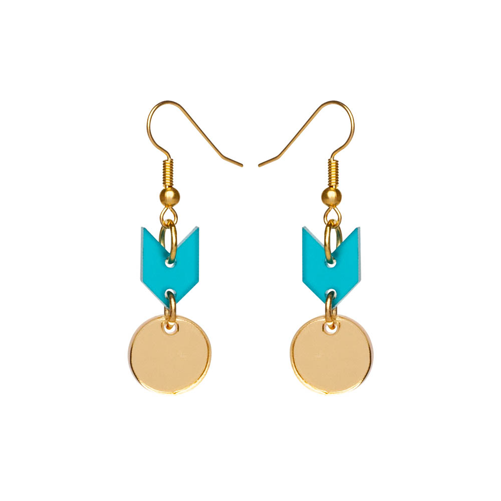 Toolally Earrings - Cutting Room 36 - Azure & Gold Mirror