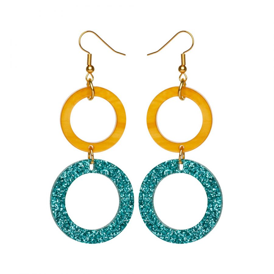 Toolally Earrings - Cutting Room 38 - Mica & Teal Glitter