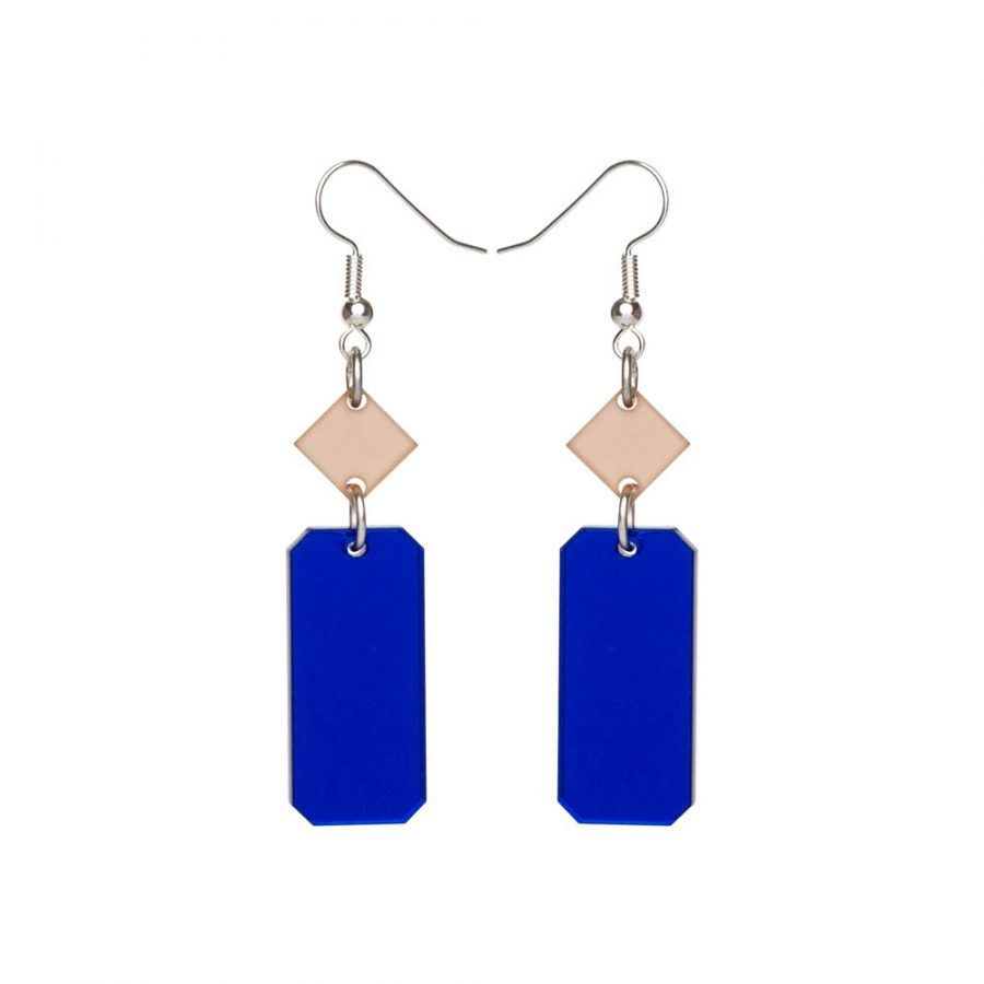 Toolally Earrings - Cutting Room 39 - Blue Mirror & Nude