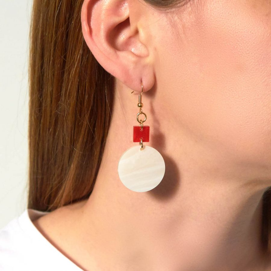 Toolally Earrrings - Cutting Room 20 - Red Marble & Alabaster