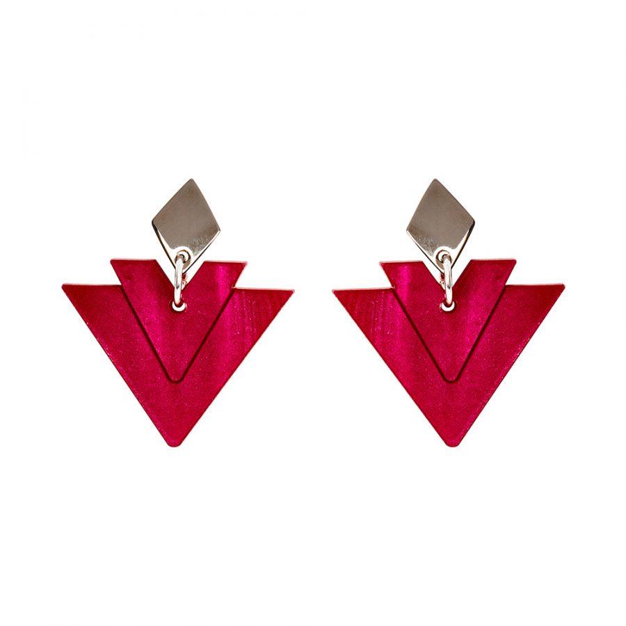 Toolally Earrings - Art Deco - Arrow Drops - Cerise