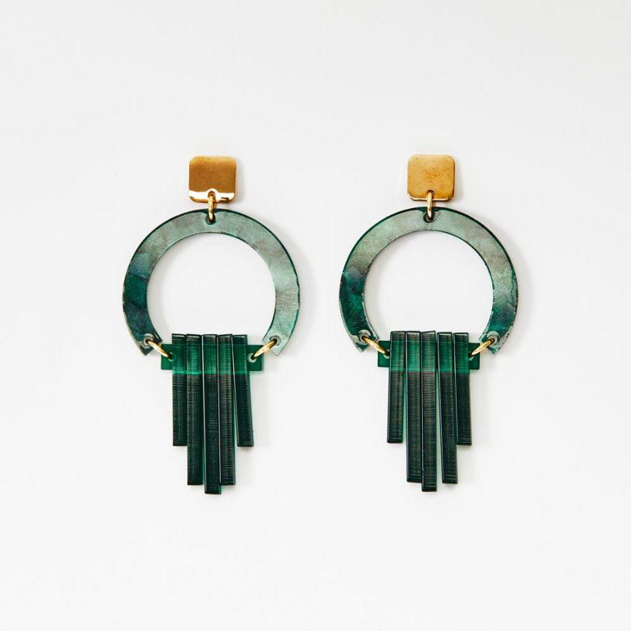 Toolally Earrings - Art Deco - Art Deco Chandeliers - Emerald Pearl