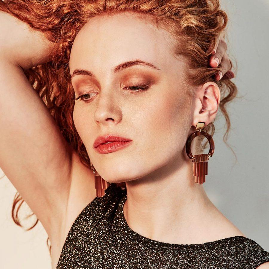 Toolally Earrings - Art Deco - Art Deco Chandeliers - Caramel Pearl