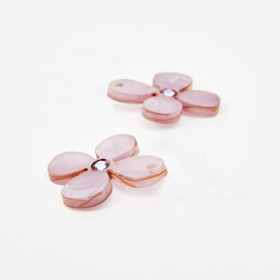 Toolally Earrings - Charming Hoops - Daisy Charm - Lilac Pearl