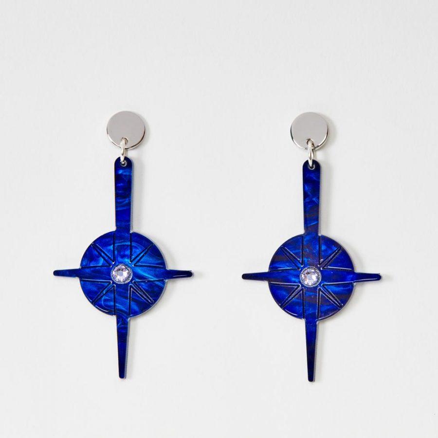 Toolally Earrings - Night Sky - Compass - Blue Swirl