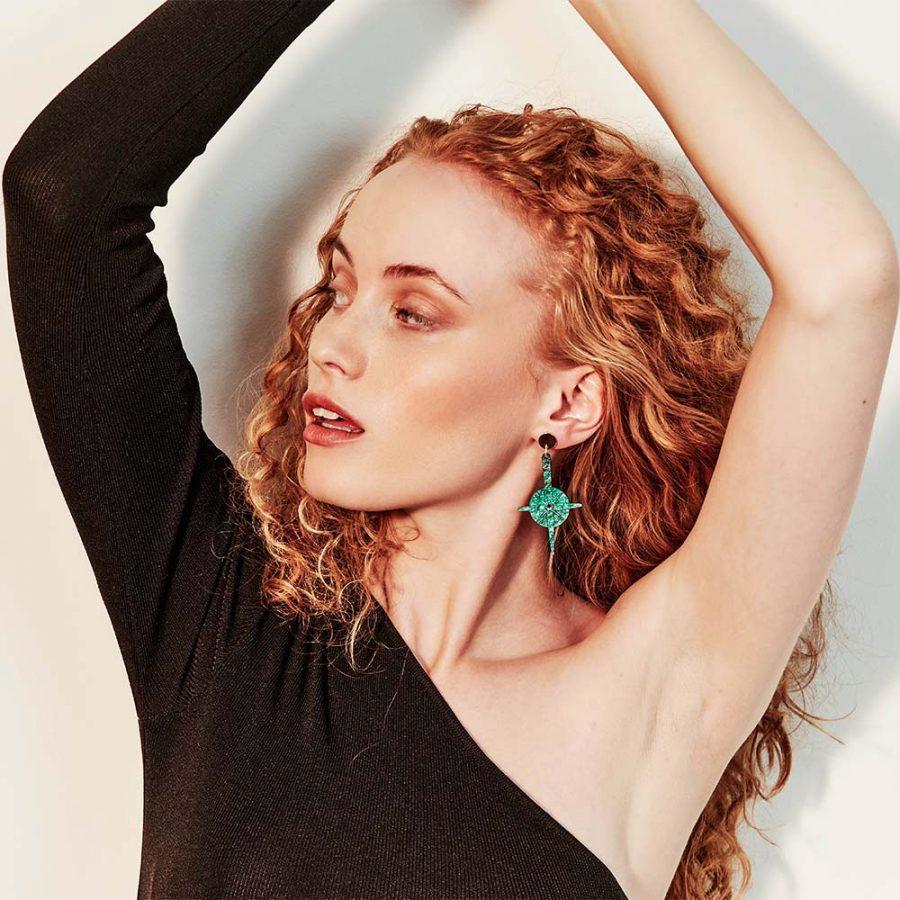 Toolally Earrings - Night Sky - Compass - Green Sparkle