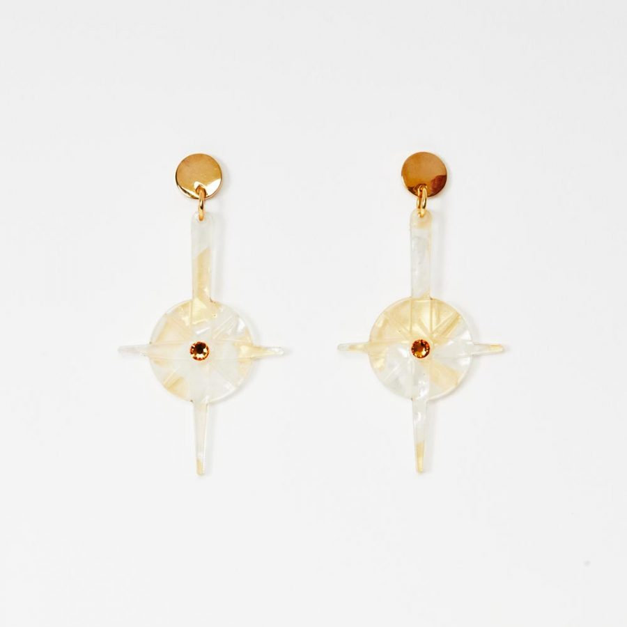 Toolally Earrings - Night Sky - Compass - White & Gold Pearl