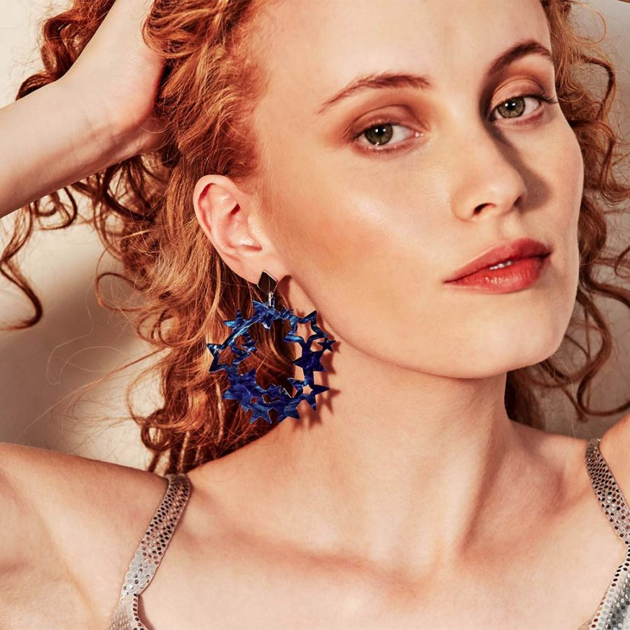Toolally Earrings - Night Sky - Constellation - Blue Swirl