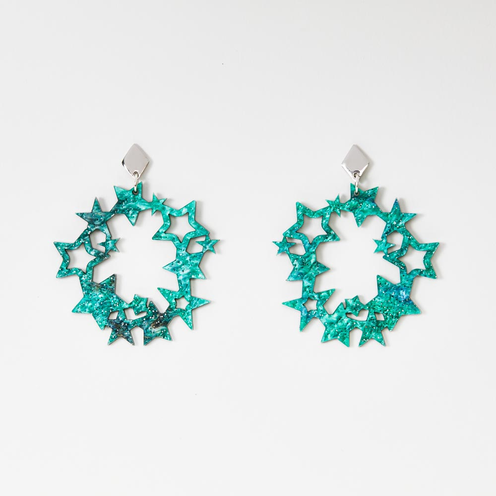Toolally Earrings - Night Sky - Constellation - Green Sparkle