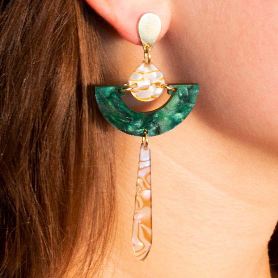 Toolally Earrings - Art Deco - Daphnes - Emerald Pearl