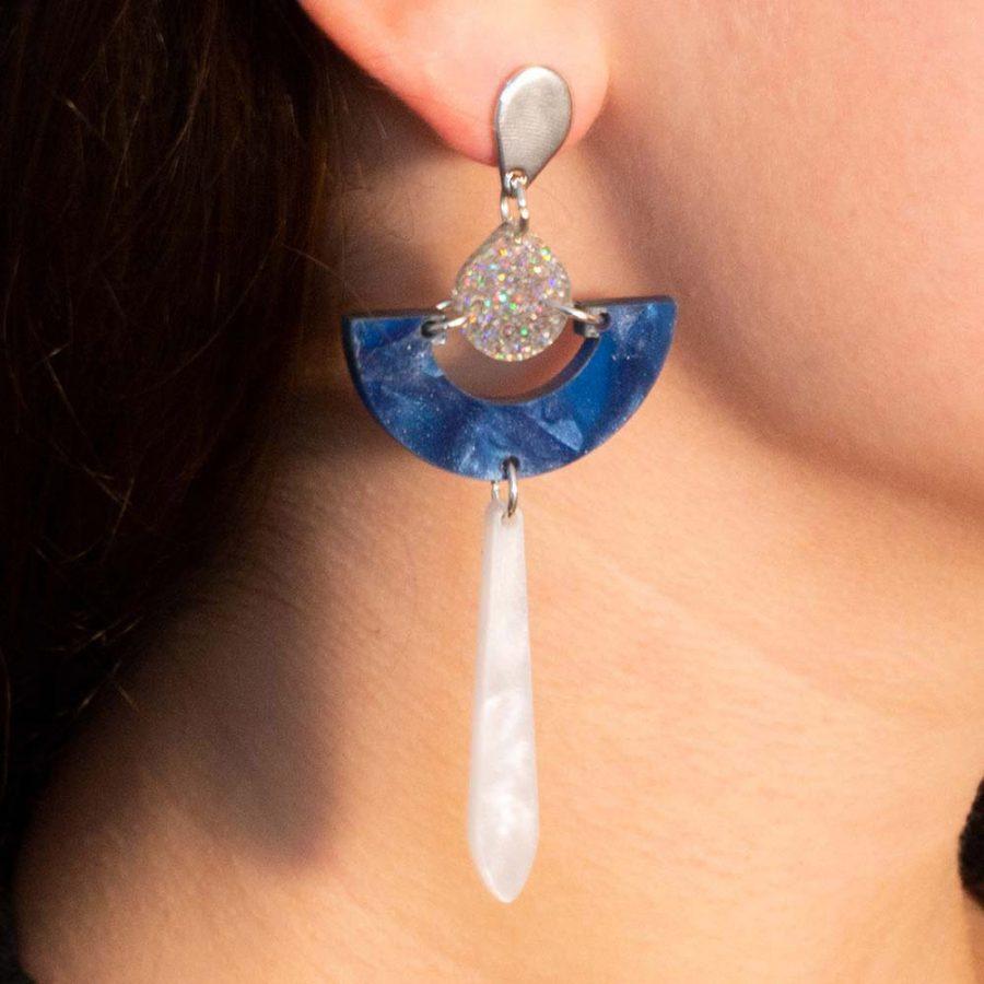 Toolally Earrings - Art Deco - Daphnes - Sapphire Pearl