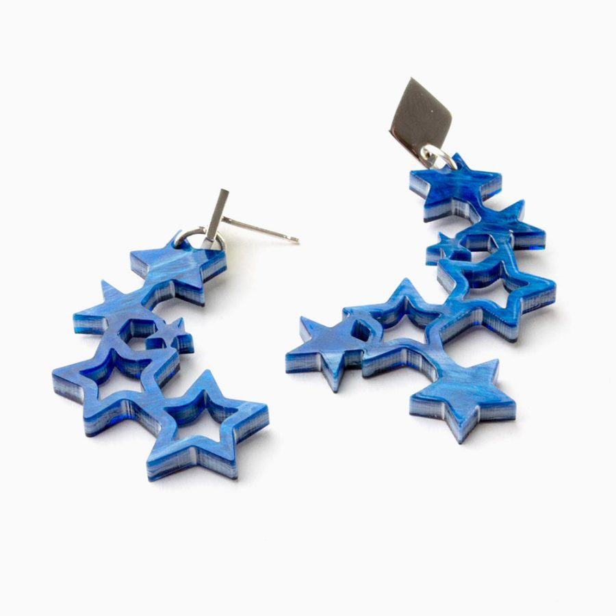 Toolally Earrings - Night Sky - Falling Stars - Blue Swirl