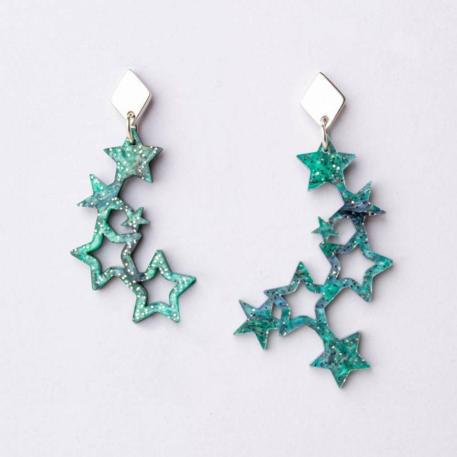 Toolally Earrings - Night Sky - Falling Stars - Green Sparkle