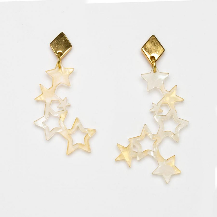 Toolally Earrings - Night Sky - Falling Stars - White & Gold Pearl