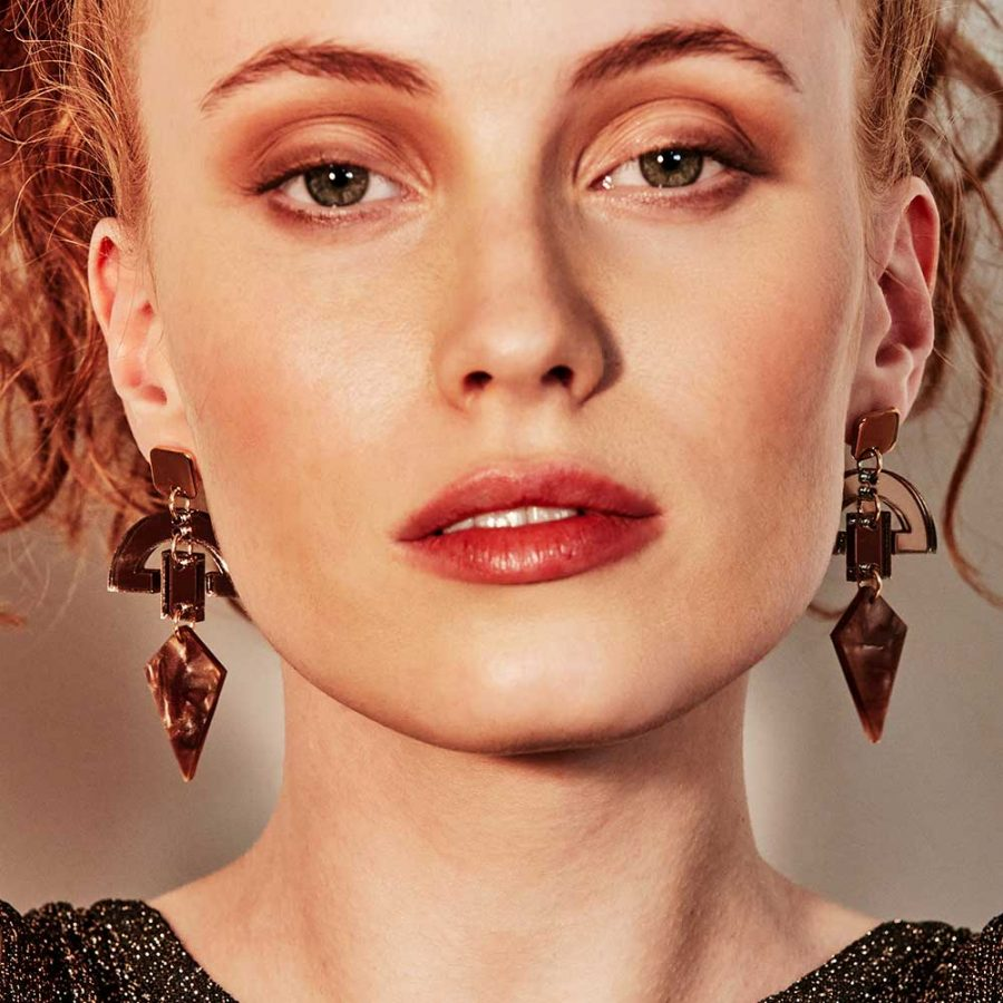 Toolally Earrings - Art Deco - Half Moon Drops - Caramel Pearl