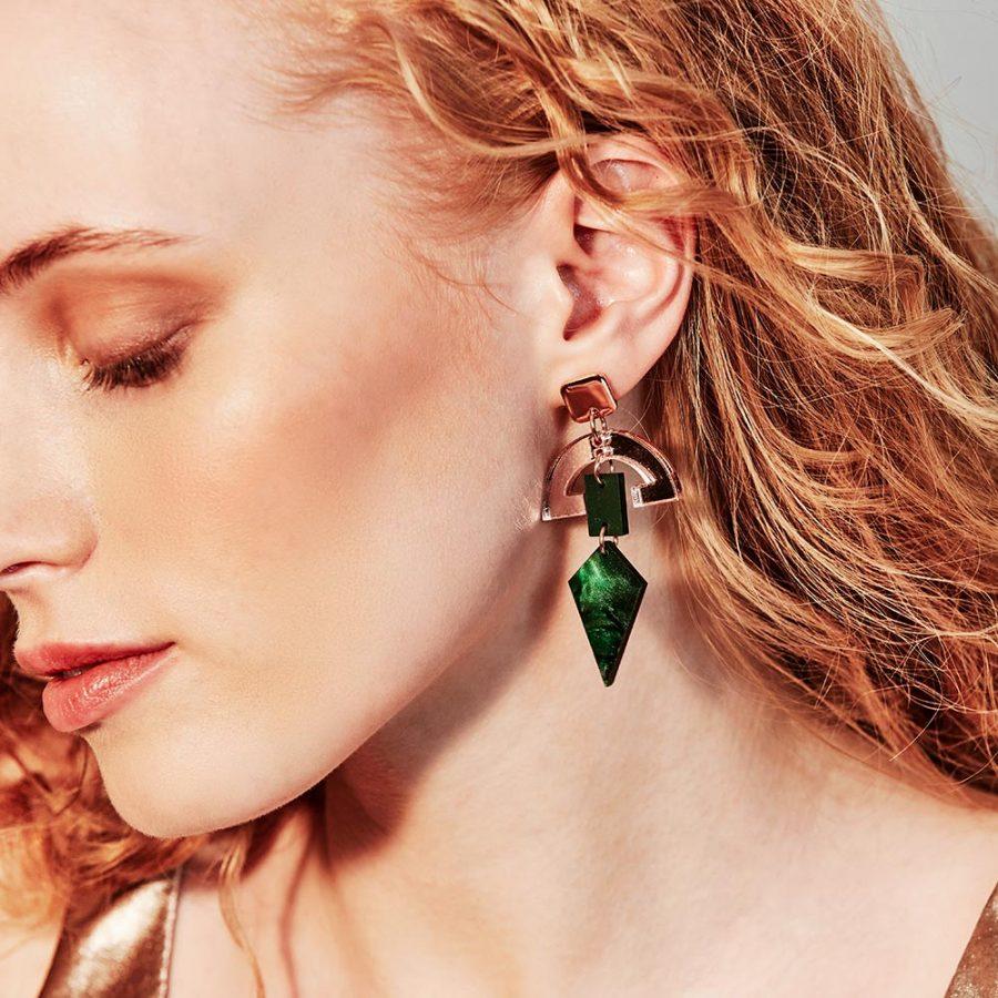 Toolally Earrings - Art Deco - Half Moon Drops - Emerald Pearl