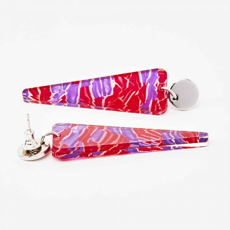 Toolally Earrings - Simple Statements - Icicles - Pink & Purple Crackle