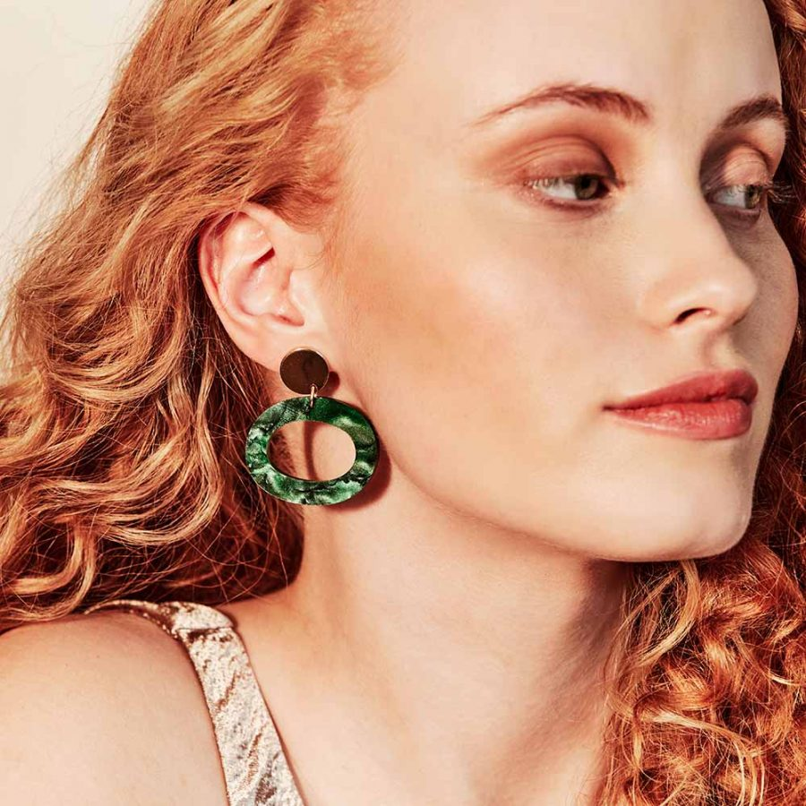 Toolally Earrings - Simple Statements - Ohs - Emerald Pearl