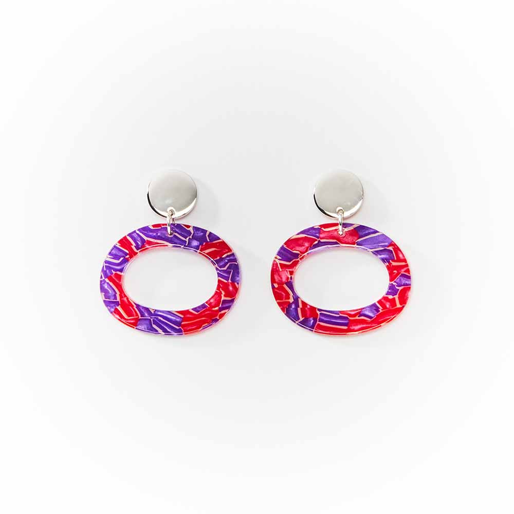 Toolally Earrings - Simple Statements - Ohs - Pink & purple Crackle