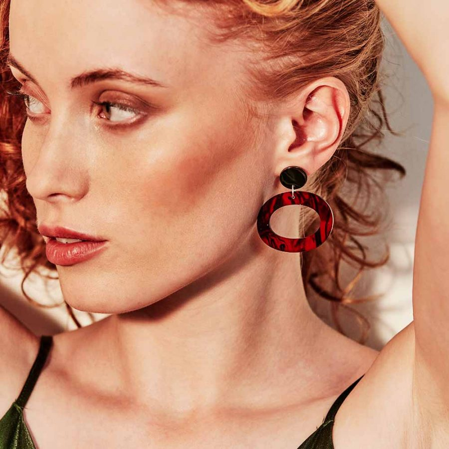 Toolally Earrings - Simple Statements - Ohs - Red Tortoiseshell