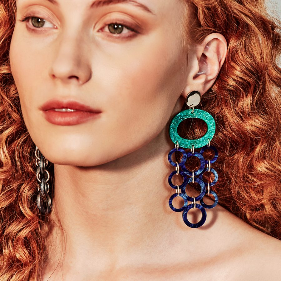 Toolally Earrings - Graphics - Oh what a nights - Green Sparkle & Blue Swirl