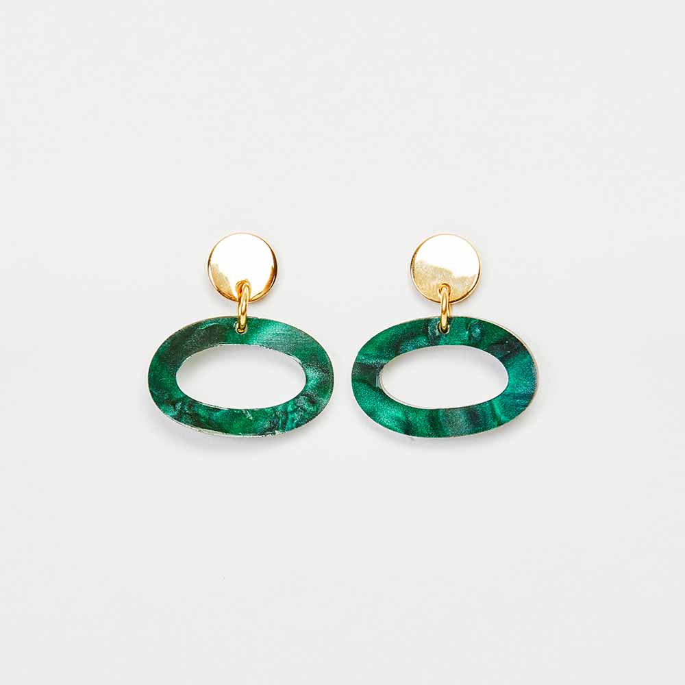 Toolally Earrings - Simple Statements - Ovals - Emerald Pearl