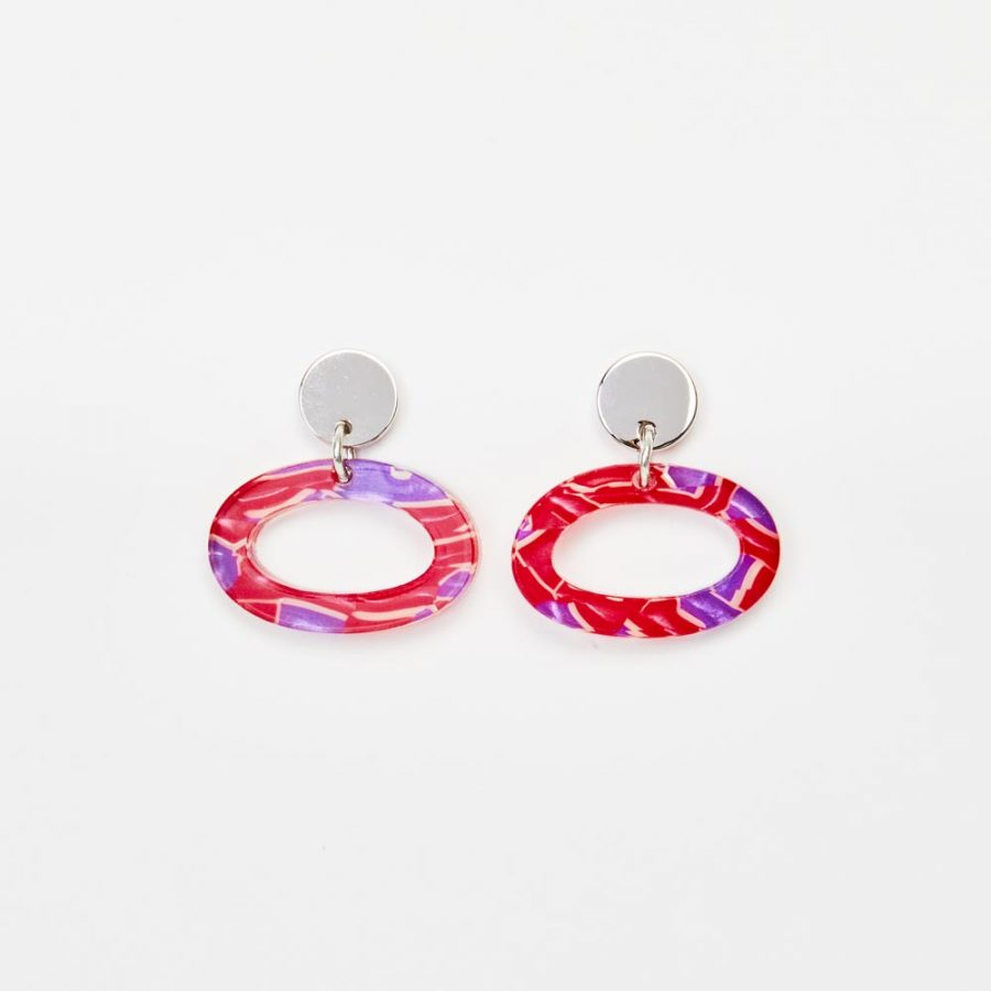 Toolally Earrings - Simple Statements - Ovals - Pink & Purple Crackle