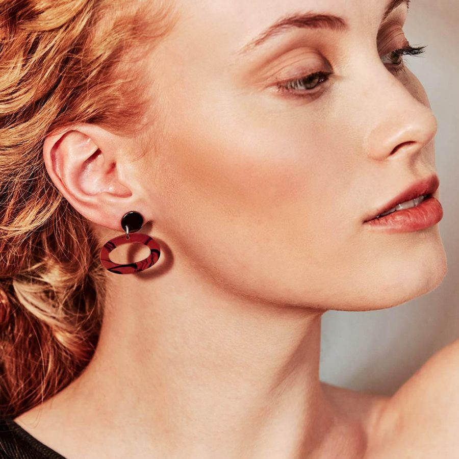Toolally Earrings - Simple Statements - Ovals - Red Tortoiseshell