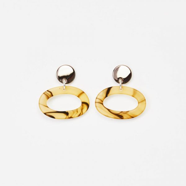 Toolally Earrings - Simple Statements - Ovals - White Tortoiseshell