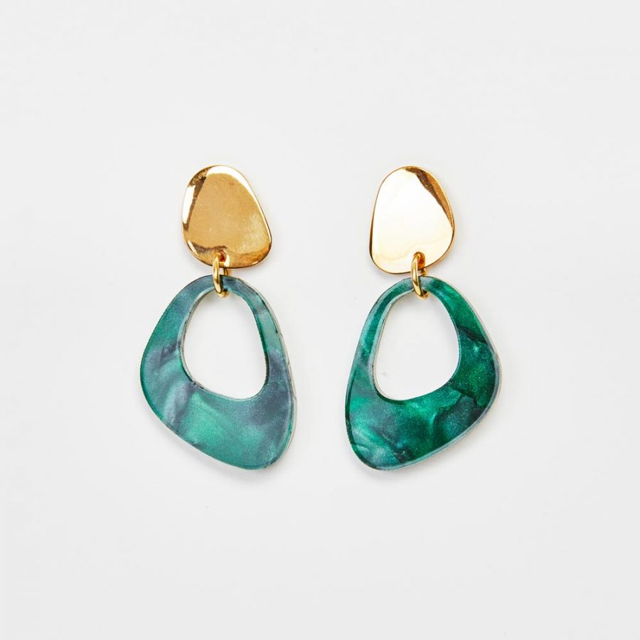 Toolally Earrings - Simple Statements - Pebble Drops - Emerald Pearl