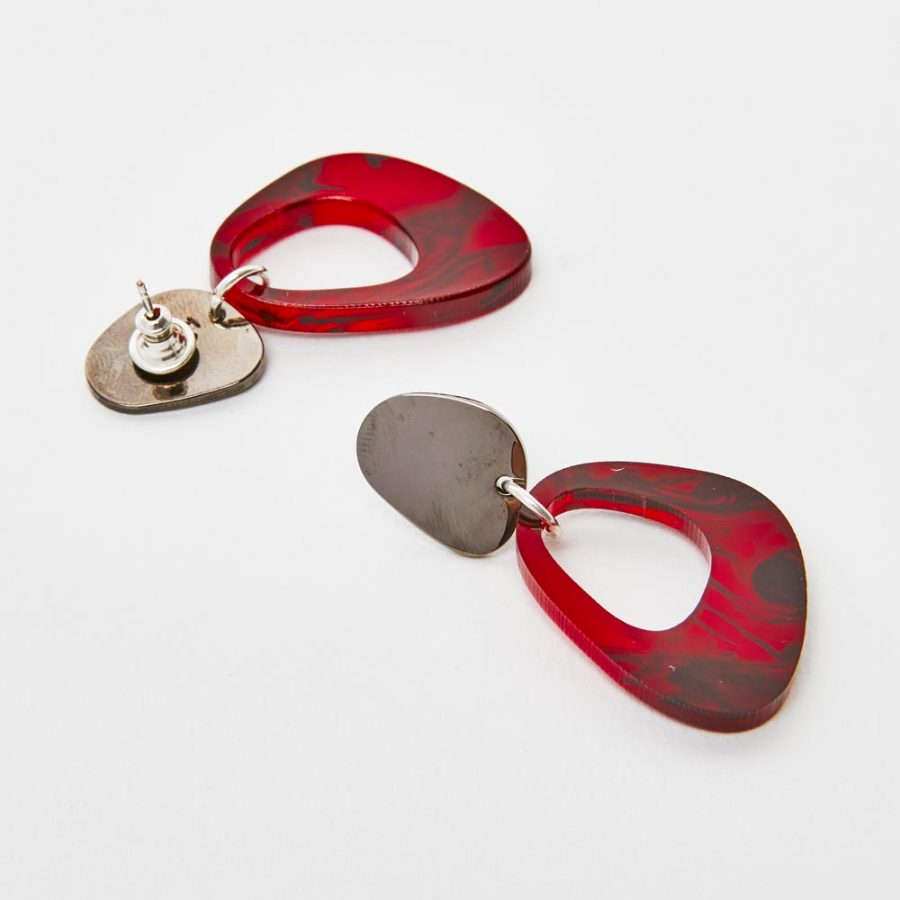 Toolally Earrings - Simple Statements - Pebble Drops - Red Tortoiseshell