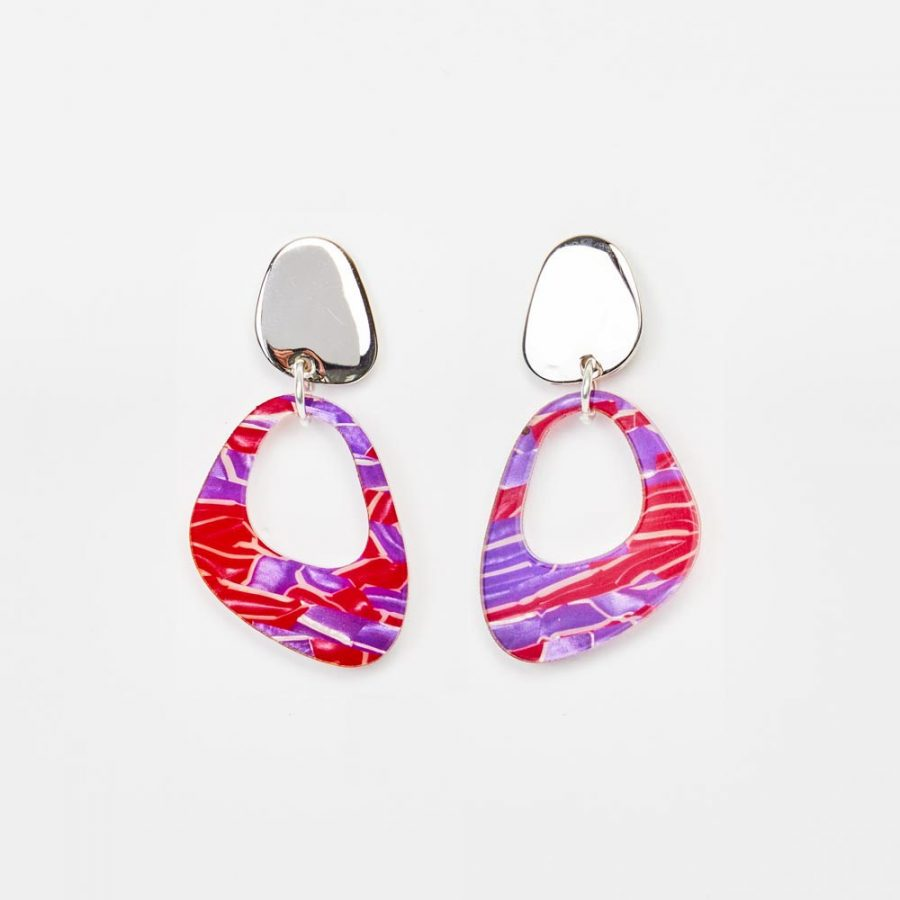 Toolally Earrings - Simple Statements - Pebble Drops - Pink & Purple Crackle