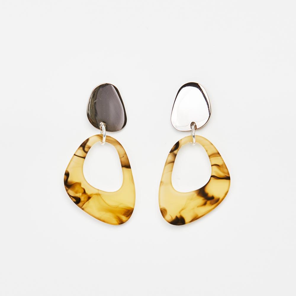 Toolally Earrings - Simple Statements - Pebble Drops - White Tortoiseshell