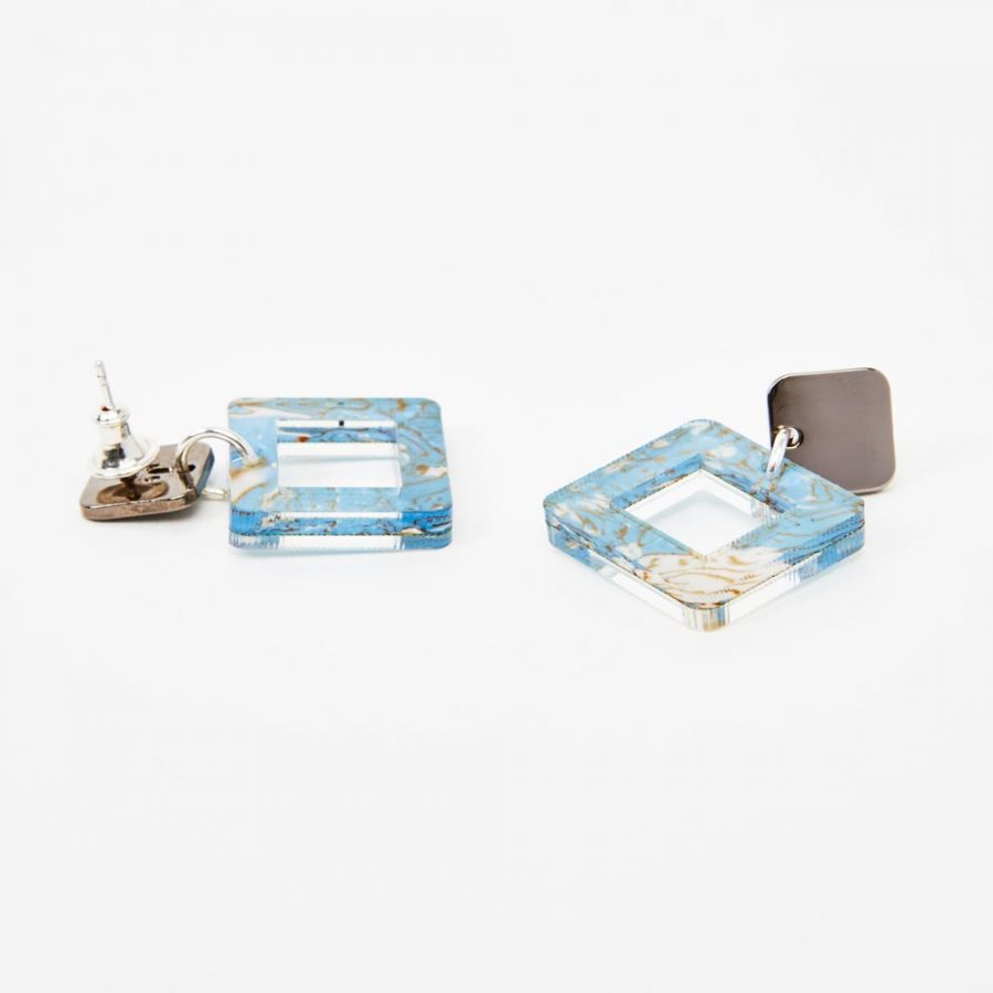 Toolally Earrings - Simple Statements - Squares - Blue Shell