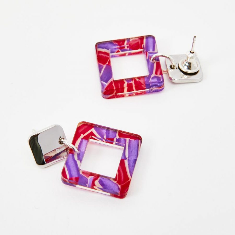 Toolally Earrings - Simple Statements - Squares - Pink & Purple Crackle