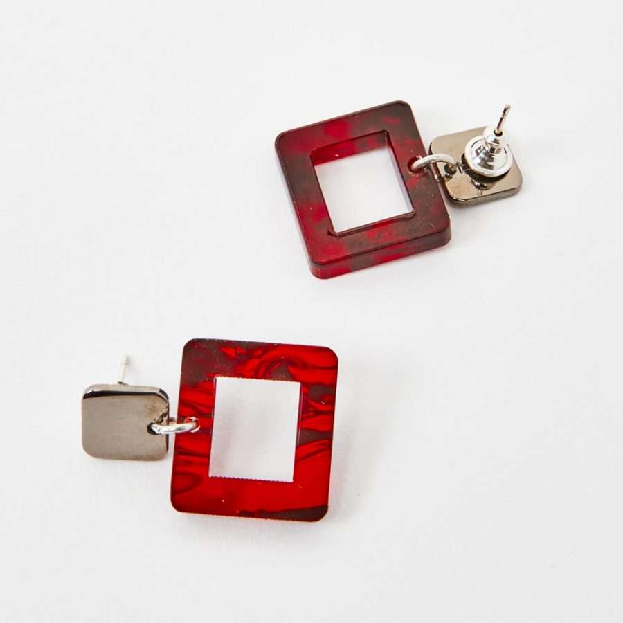 Toolally Earrings - Simple Statements - Squares - Red Tortoiseshell
