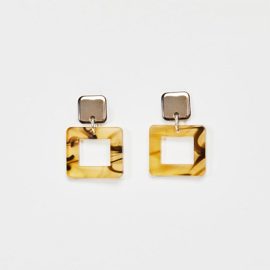 Toolally Earrings - Simple Statements - Squares - White Tortoiseshell