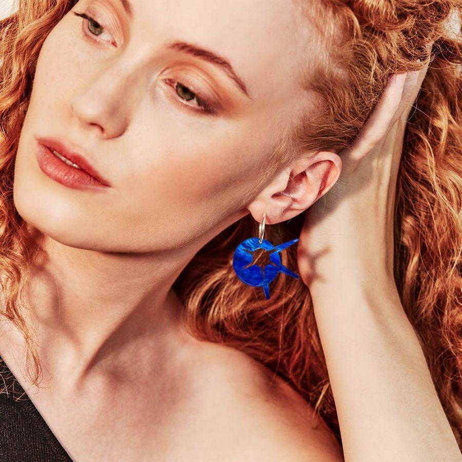 Toolally Earrings - Charming Hoops - Starburst Hoop - Blue Swirl